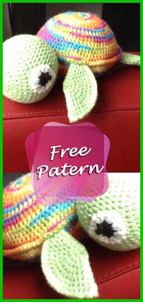 DIY – Instructions for Crocheted Turtle Amigurumi Free Pattern Tutorial #crochetturtles