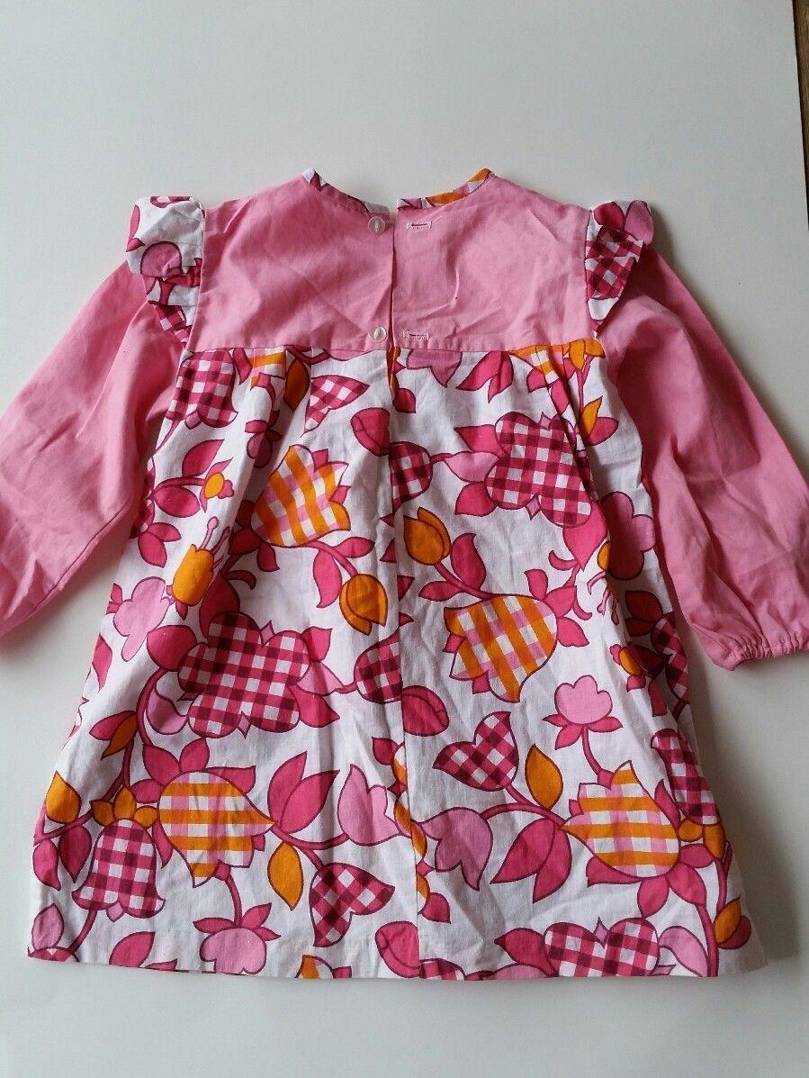 Vintage Toddler Dress 4T 70s Floral Frill Long Sleeves Pink Orange ...