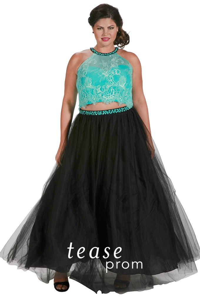 644dd4121f5 The best part about this plus size two-piece prom dress  You can restyle it  three ways! Wear the top and skirt separately throughout the year!