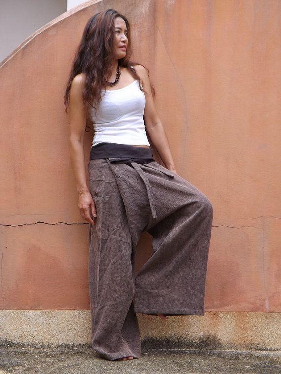 Thai Fisherman Pants .Unisex Pants ..Yoga Pants .Color Brown