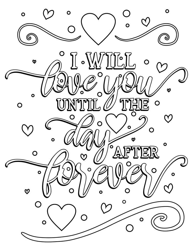 Happy Valentine S Day Coloring Book For Adults Kids 50 Printable Coloring Pages Valentine S Day Coloring Pages Pdf Instant Download In 2021 Quote Coloring Pages Swear Word Coloring Book Words Coloring Book