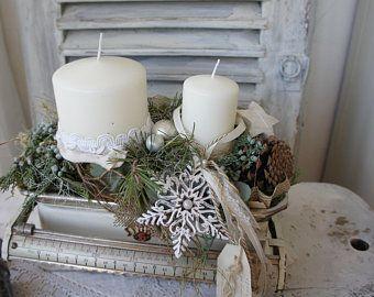 Florales Vintage und handgearbeitete Unikate von Hoimeliges auf Etsy #rustikaleweihnachten