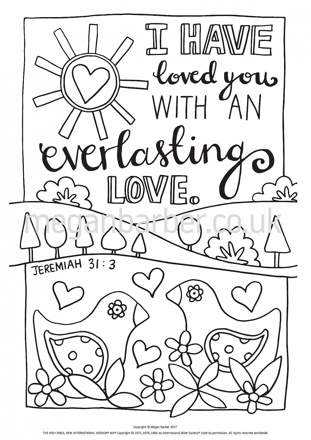 Colouring sheet featuring a simple typographic illustration with the ...