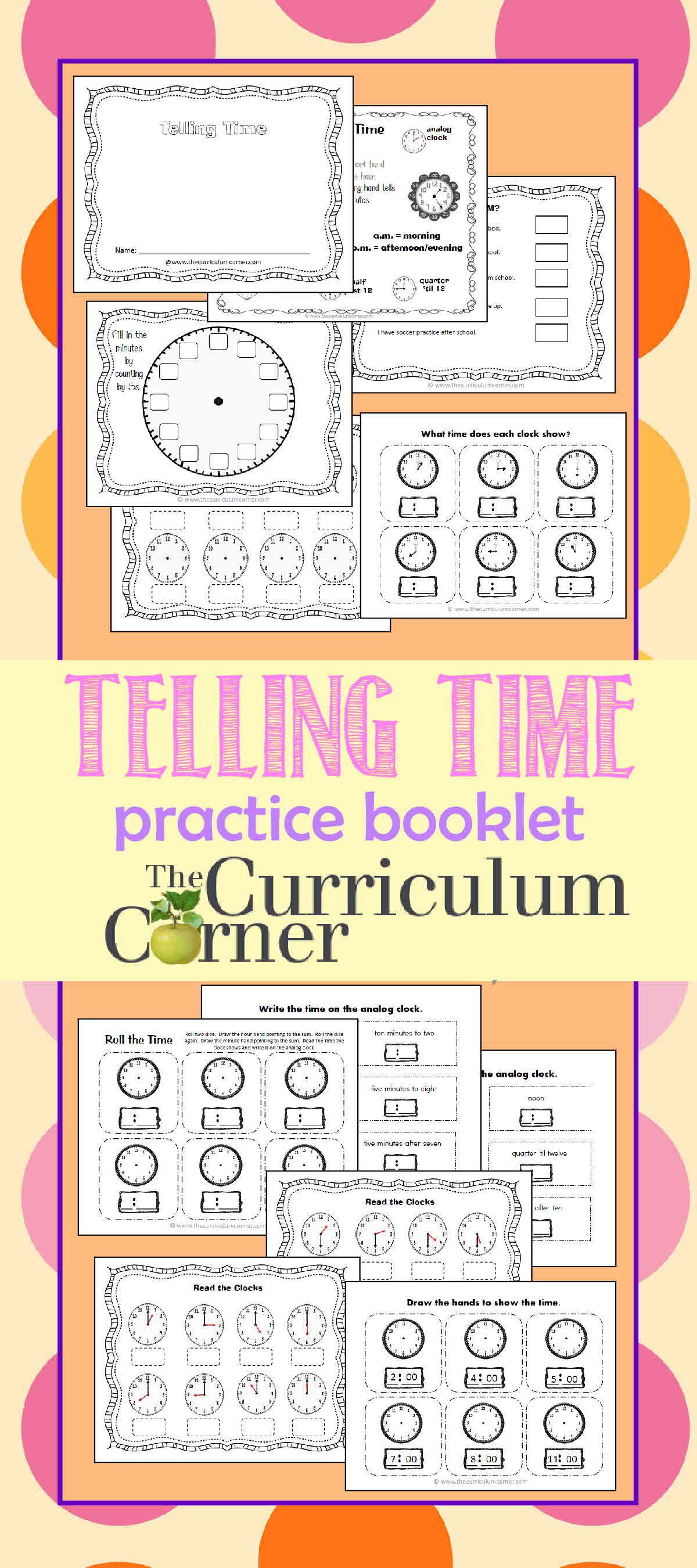 Telling Time Practice Booklet 2 Math Teaching math
