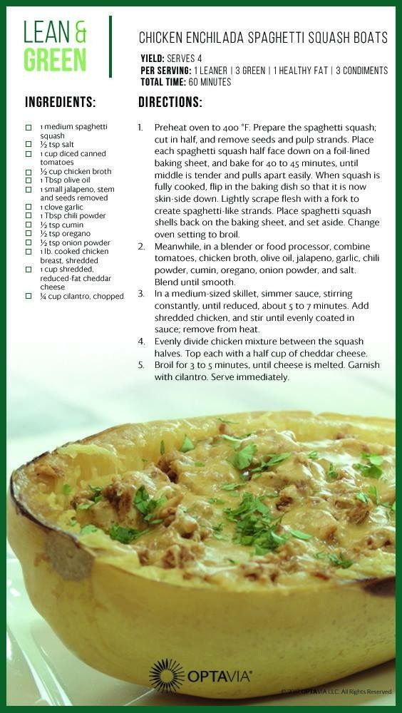 Chicken Enchilada Spaghetti Squash Boat Lean Green Meals Greens Recipe Lean Meals