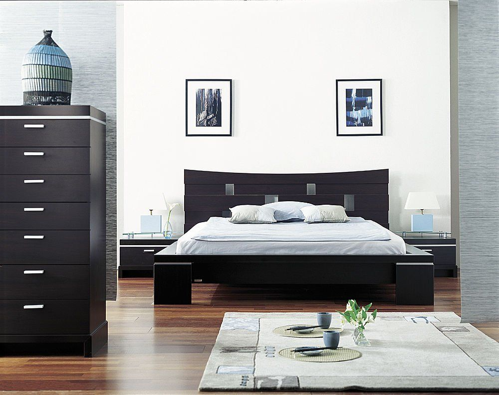 Black White Asian Themed Bedroom Deco