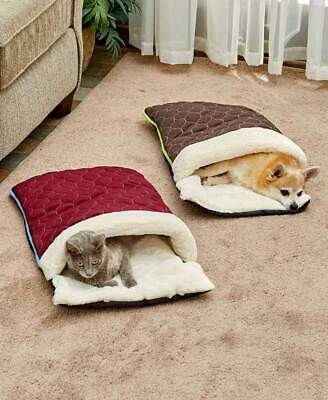 Quilted Snuggle Sack Cat Dog Pet Bed - Red Blue or