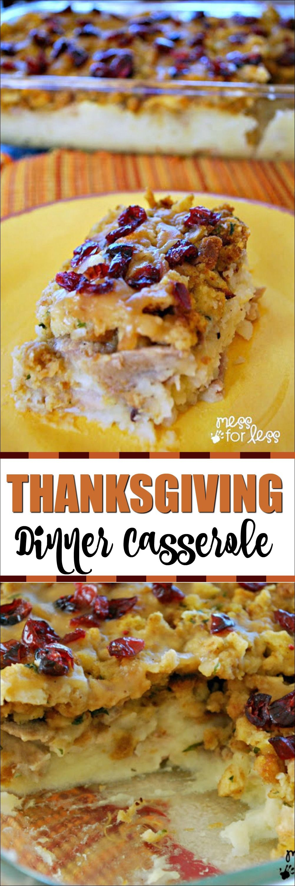 Thanksgiving Dinner Casserole - This turkey and stuffing casserole combines your favorite Thanksgiving flavors in an easy dish. #thanksgivingrecipes