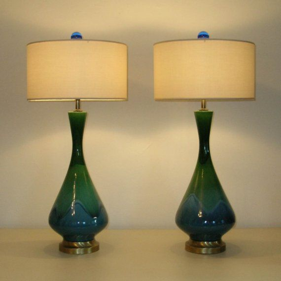 Matched Pair Of Royal Haeger Drip Glaze Mid Century Modern Etsy Lamp Mid Century Modern Ceramics Ceramic Lamp