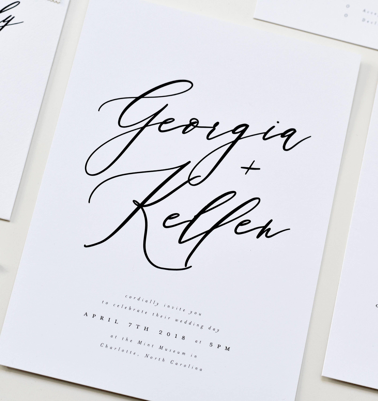 Calligraphy Wedding Invitation Modern Calligraphy Wedding Invite