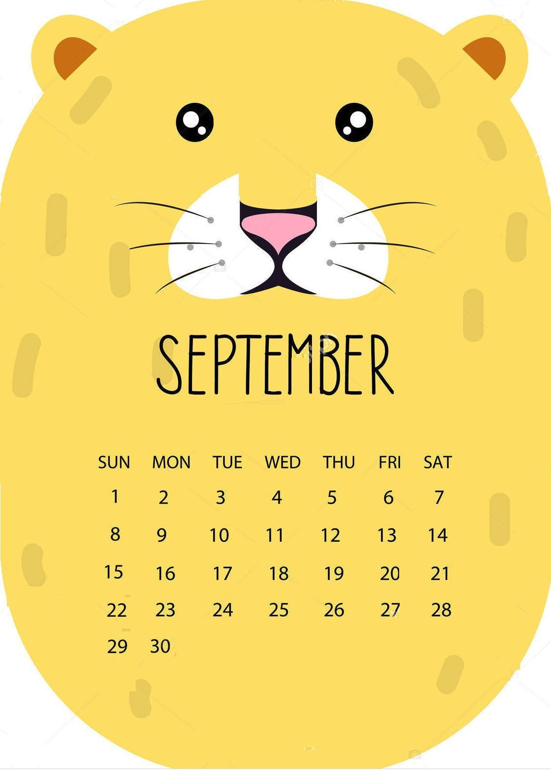 Kawaii Calendar 2020 September October And December Cute September 2018 Calendar Download | September 2018 Calendar