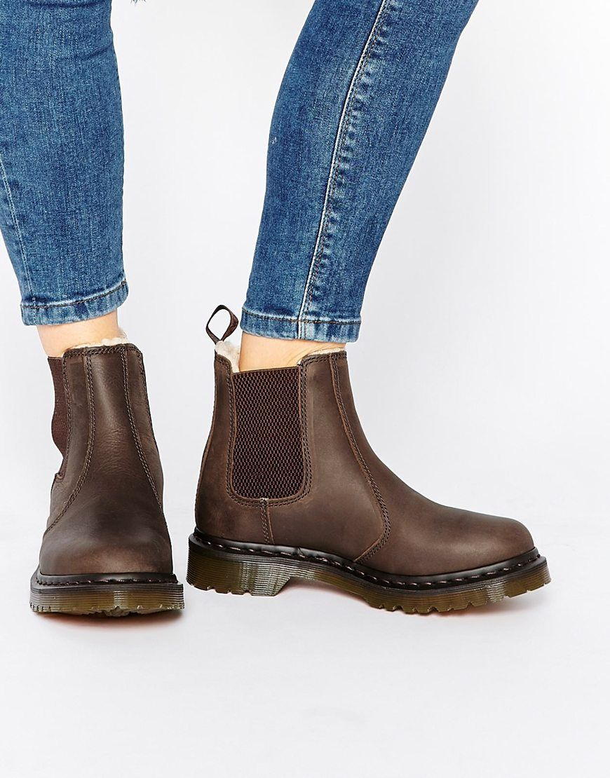 Dr Martens Leonore Brown Lined Chelsea Boots | Brown chelsea