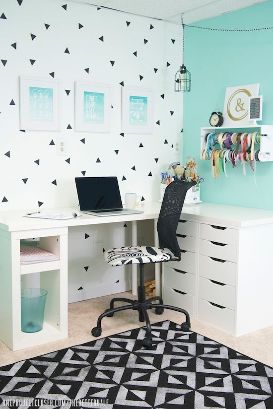 Black and White Office or Craft Room Makeover Idea - DIY Painted Indoor Rug with Modern Geometric Floor Stencils - Royal Design Studio
