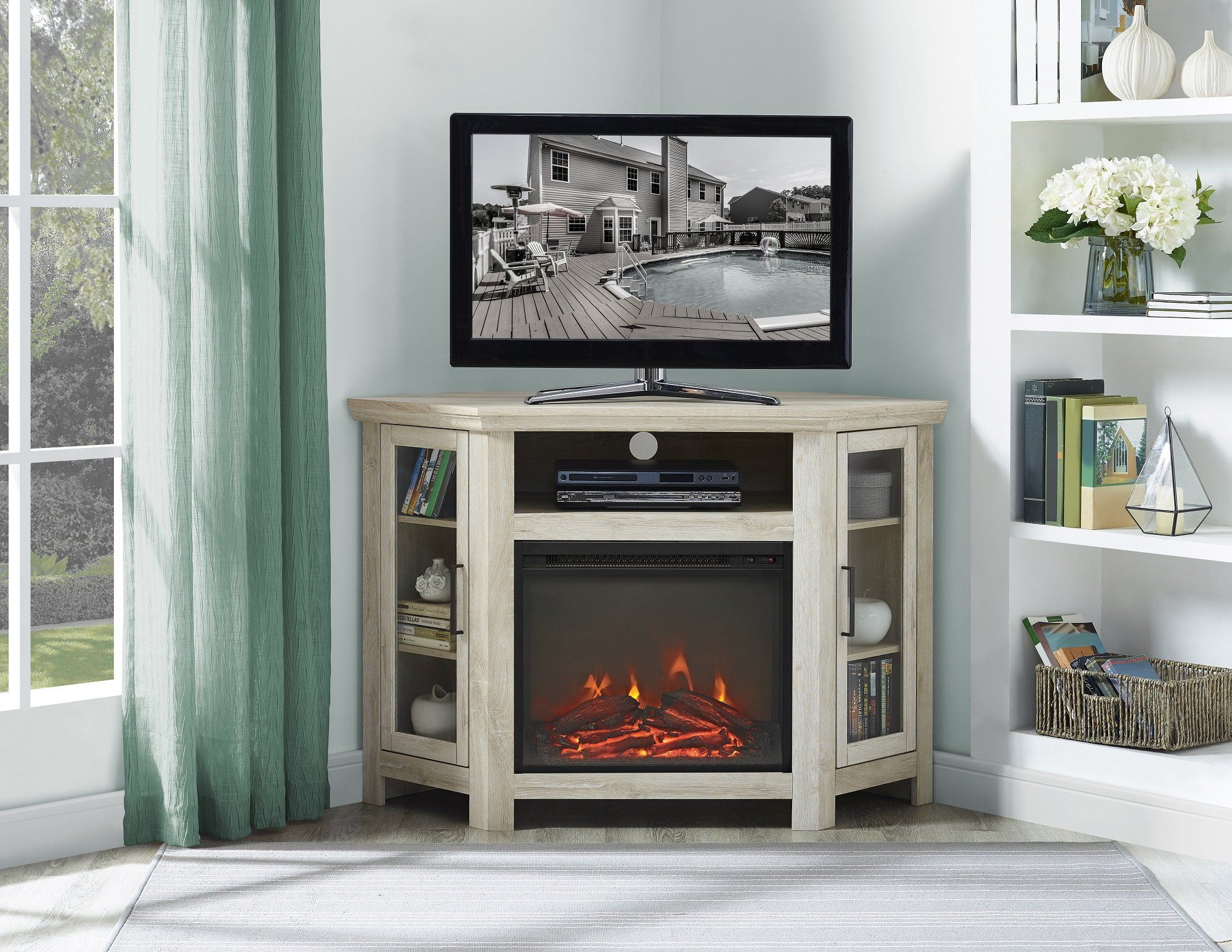 New 48 Inch Wide Corner Fireplace Television Stand In White Oak