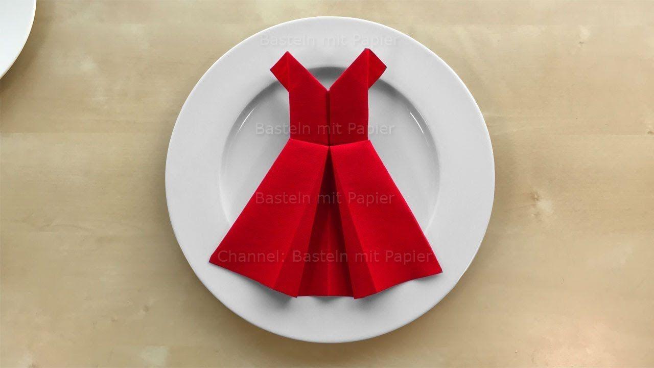 Servietten Falten Kleid Einfache Tischdeko Basteln Mit Papier