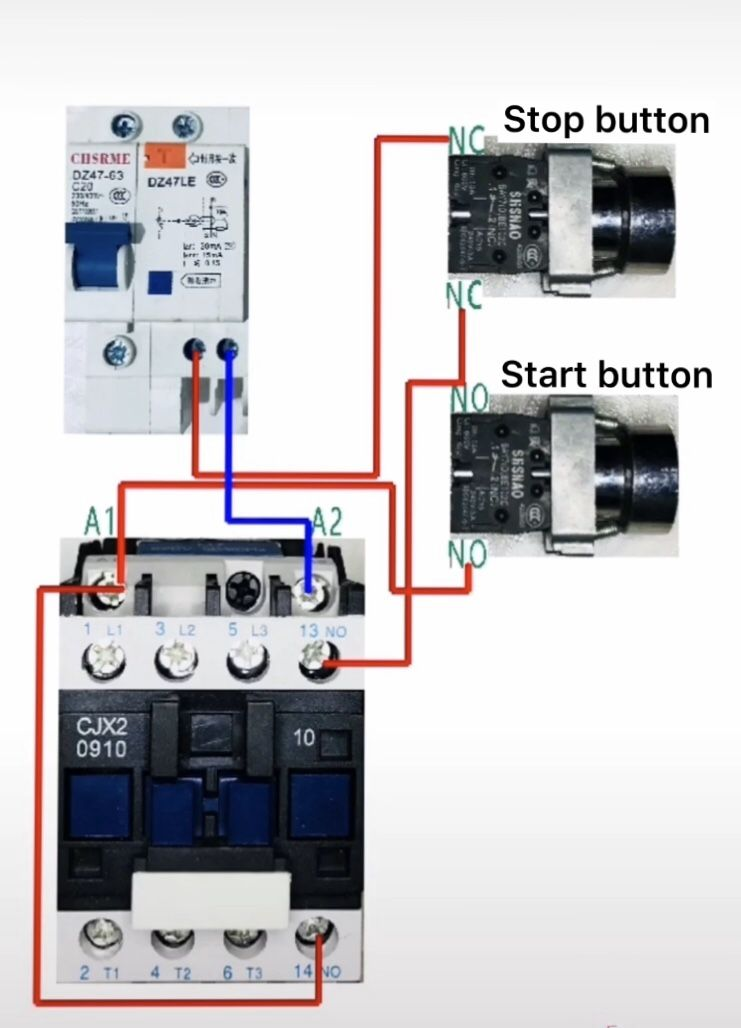 The Contactor Self Locking Start Stop Circuit Home Electrical Wiring Electrical Circuit Diagram Electricity