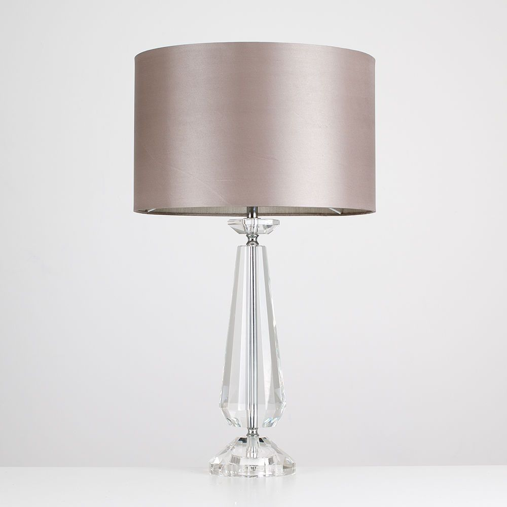 Modern Endon Adelphi Clear Crystal Table Lamp Taupe Faux