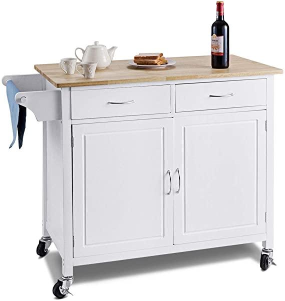 Amazon Com Waterjoy Rolling Kitchen Buffet Cart Wood Utility Kitchen Storage Island Cart With Wood Top Ant Kitchen Island Storage Kitchen Sale Kitchen Roll
