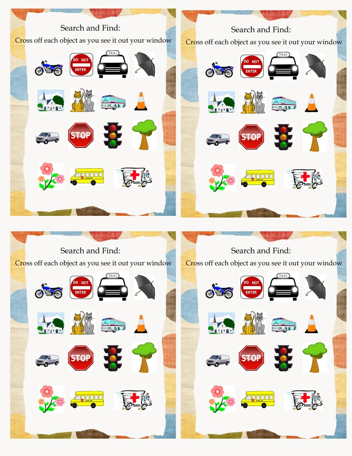 Road Trip Activity Bag #4: Cars Theme