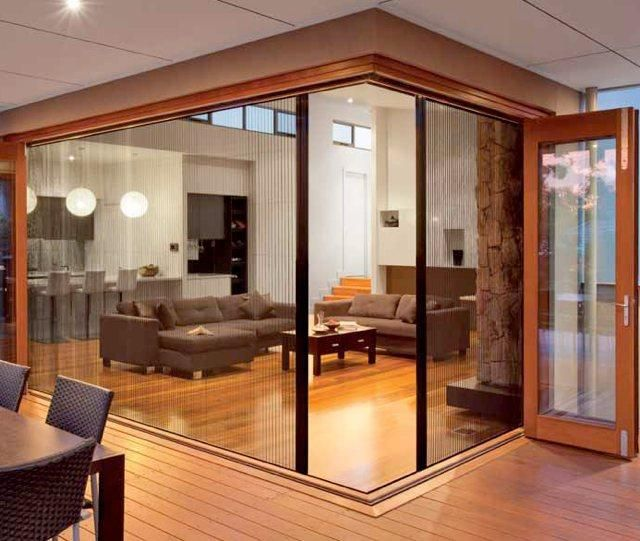 You Re Not Limited To Straight Lines Either You Can Have Retractable Door Screens Made That Meet At 90 French Doors With Screens Interior Design Degree House