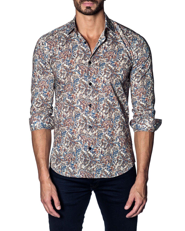 14582cd62 Men's Modern-Fit Paisley Long-Sleeve Shirt in 2019 | Dress Shirts ...