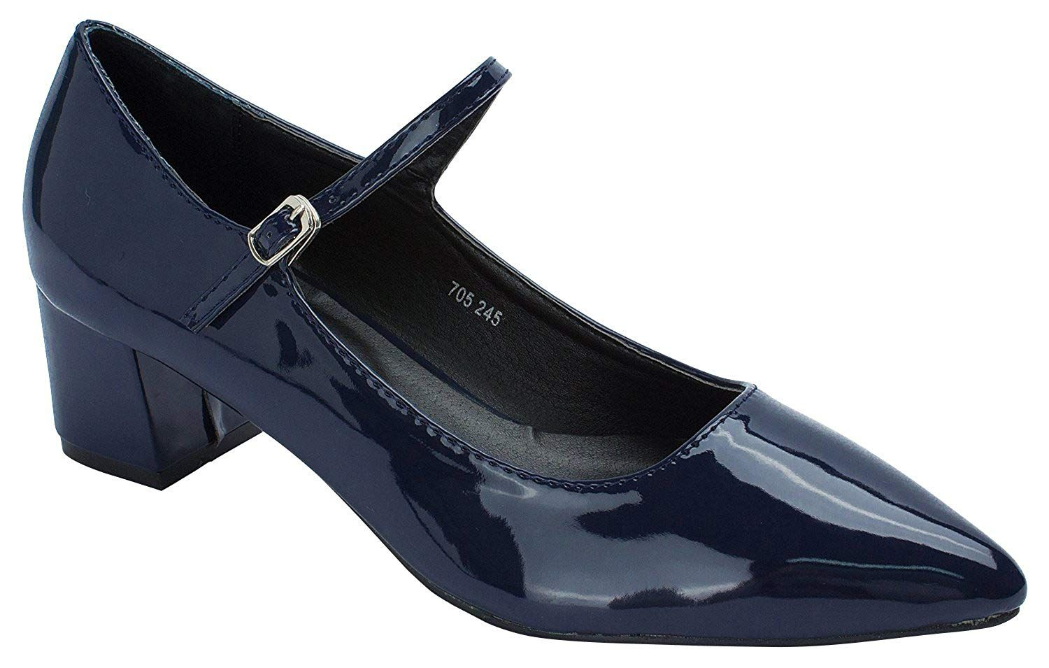 8a3811f32989 Womens Point Toe Mary Janes Mid Heel Shoes. AnnaKastle Womens Point Toe  Patent Mary Janes Shoes US 5 6 7 8. Women s Shoes