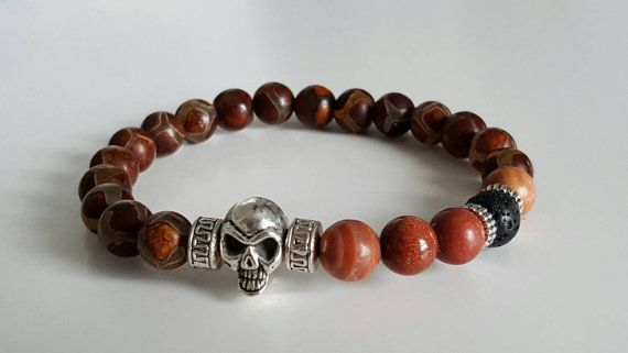 Check out this item in my Etsy shop https://www.etsy.com/listing/259026779/skull-bracelet-men-bracelet-brown