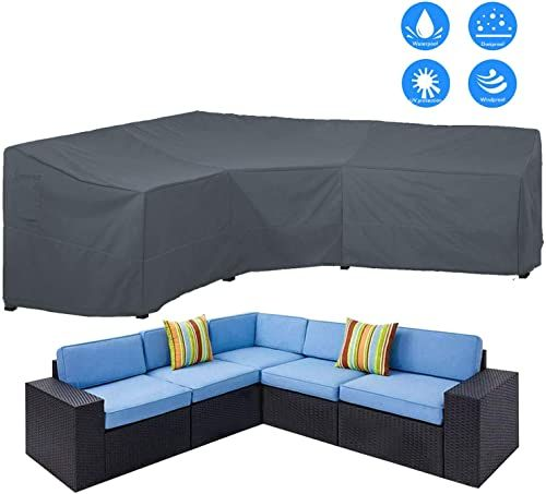 Shop For Akefit Patio Furniture Cover Outdoor V Shaped Sectional Sofa Cover Premium Waterproof Fabric Garden Couch Protector Grey 100 L X 33 5 D X 31 H Online Patio Furniture Covers Pop