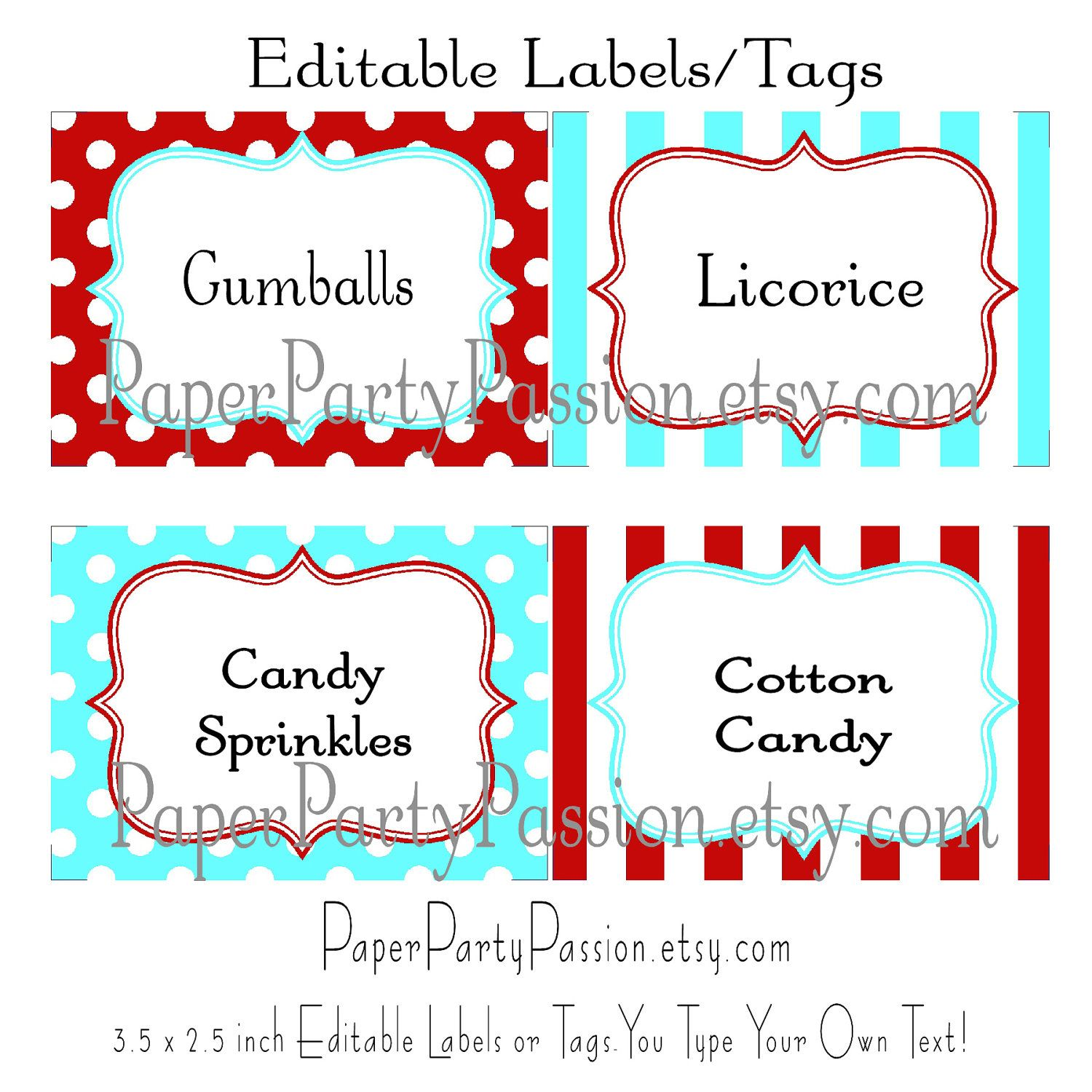 Aqua and Red Candy Buffet PRINTABLE and EDITABLE Party Labels or ...