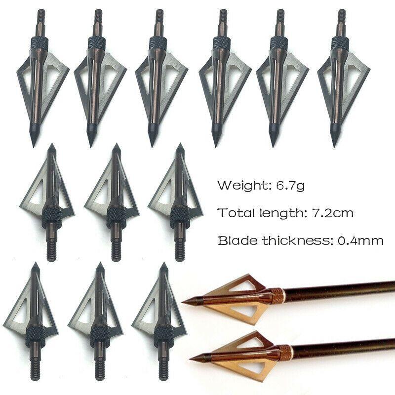 12PCS Broadheads 100Grain Arrow Heads Fixed 3 Blade For Hunting Arrows