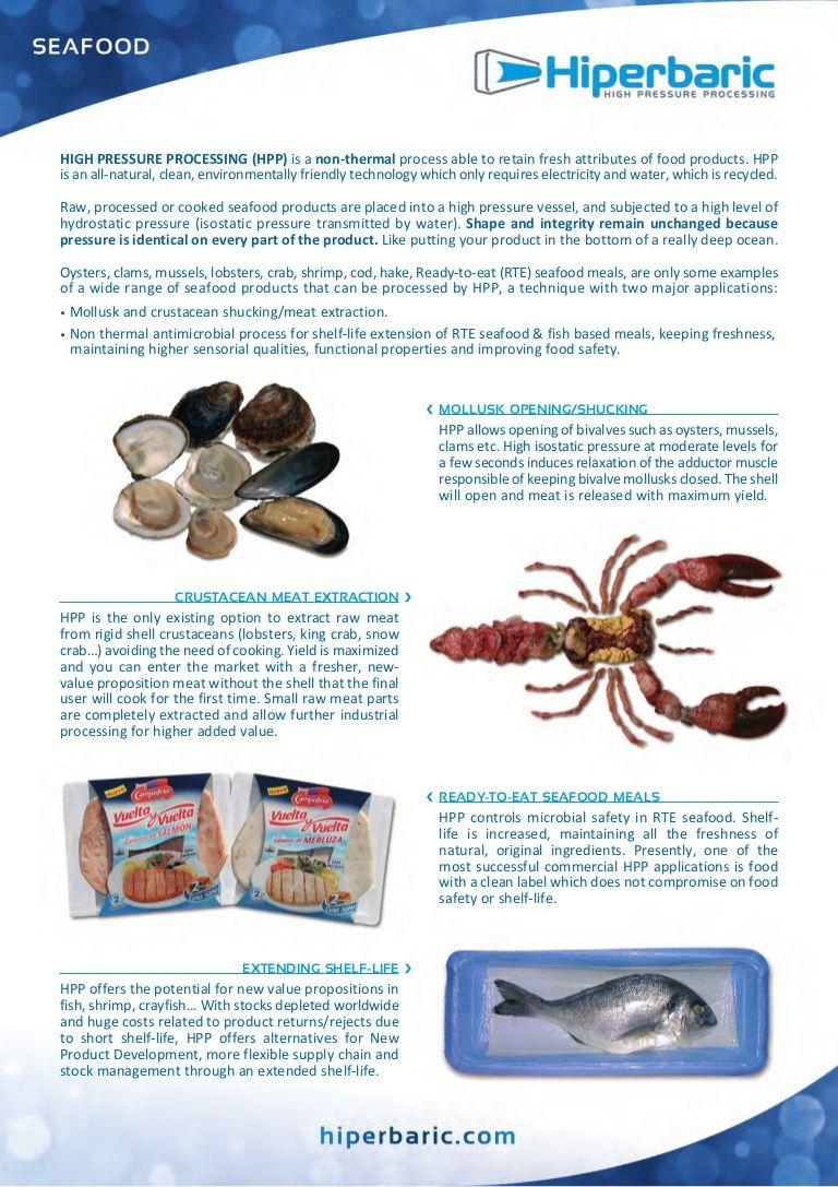 Pascalisation Of Seafood Hpp Hiperbaric By Top Technology Talks Top B V Via Slideshare Seafood Seafood Recipes Top Technology