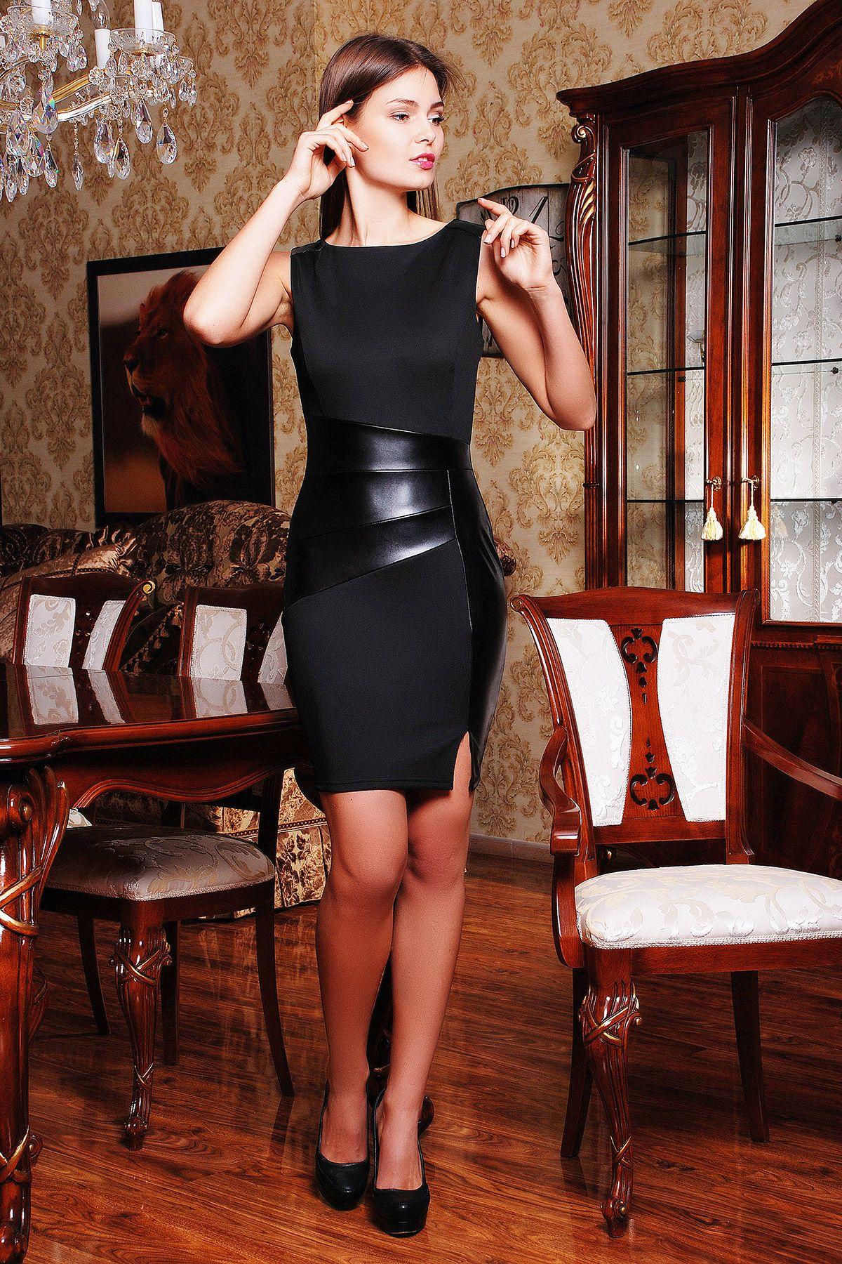 38a46b9882e Элегантное платье черного цвета на весну-лето со вставками из экокожи.  платье Тина б р. Цвет  черный-черная кожа