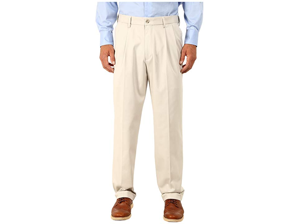 Dockers Comfort Khaki Stretch Relaxed Fit Pleated Porcelain Khaki Mens Casual Pants Everybody needs some extra breathing room from time to time Give yourself some room to...