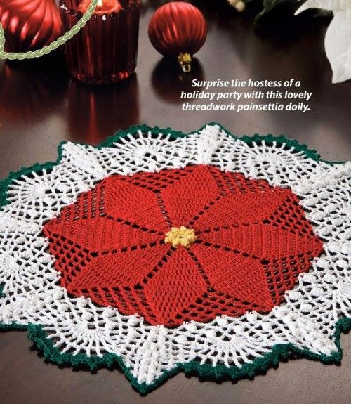 Noel Doily Centerpiece Oval Poinsettias Christmas Magic crochet pattern leaflet