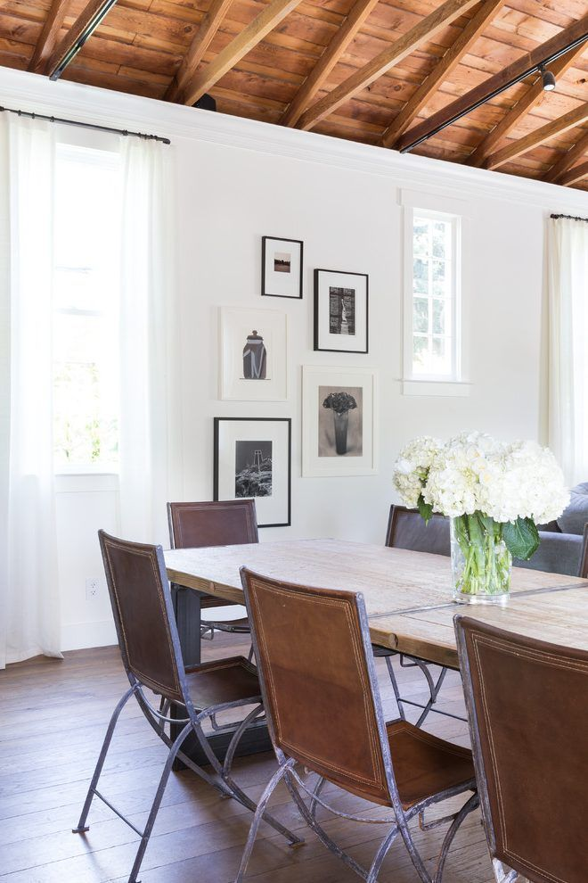 Benjamin Moore Acadia White Dining Room Transitional With