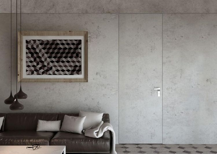 Wohnzimmer Betonoptik ~ Zimmertür wandgestaltung betonoptik wohnzimmer schwarzes sofa