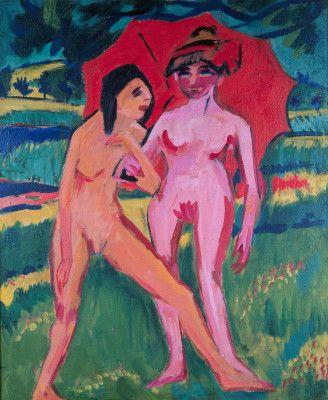 Ernst Ludwig Kirchner - Zwei Mädchen unter einem Sonnenschirm (1910)