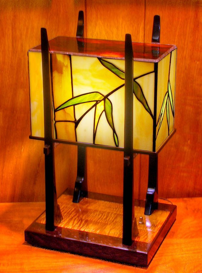 An asian inspired table lamp with case of exotic woods embracing an an asian inspired table lamp with case of exotic woods embracing an art glass bamboo design this piece stands about 20 tall aloadofball Choice Image