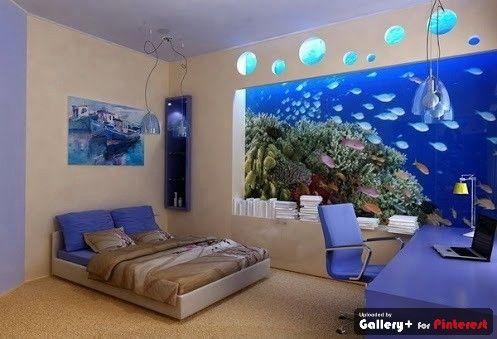 50 Wall Aquarium Design Pictures Furniture Fashion Blue