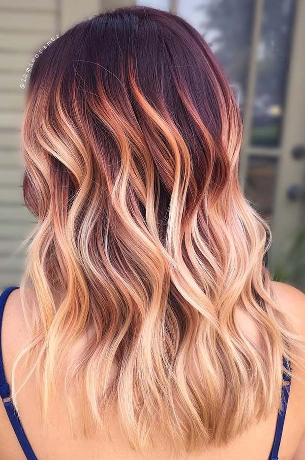 Burgundy To Blonde Ombre Colormelt Hair Style Girl Blonde Style Hairstylegirl With Images Ombre Hair Blonde Hair Color Unique Cool Hair Color