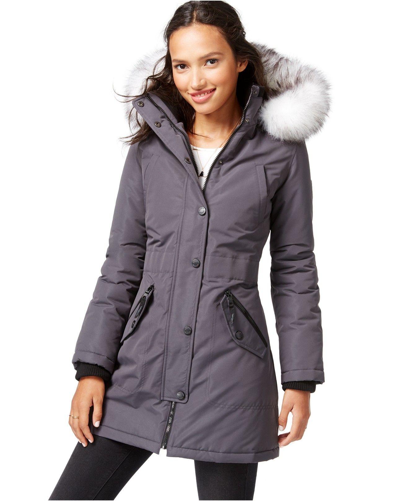 Wildflower Faux Fur Trim Hooded Parka Coats Women Macy S Hooded Parka Coat Coats For Women [ 1616 x 1320 Pixel ]