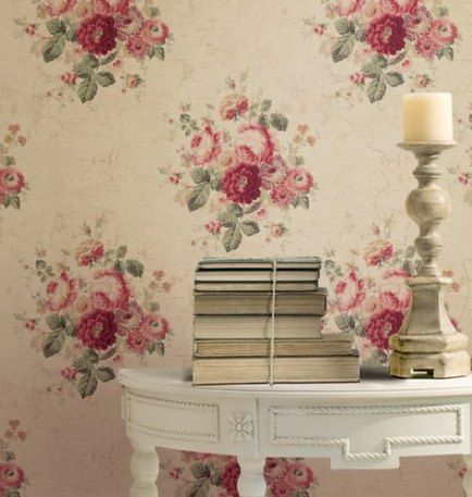 SHABBY CHIC ROSE WALLPAPER TEAL FLORAL FEATURE WALL NEW RASCH 442229