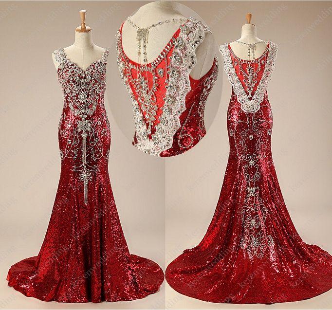 lq486 temperament luxury red plus size spaghetti straps crystals