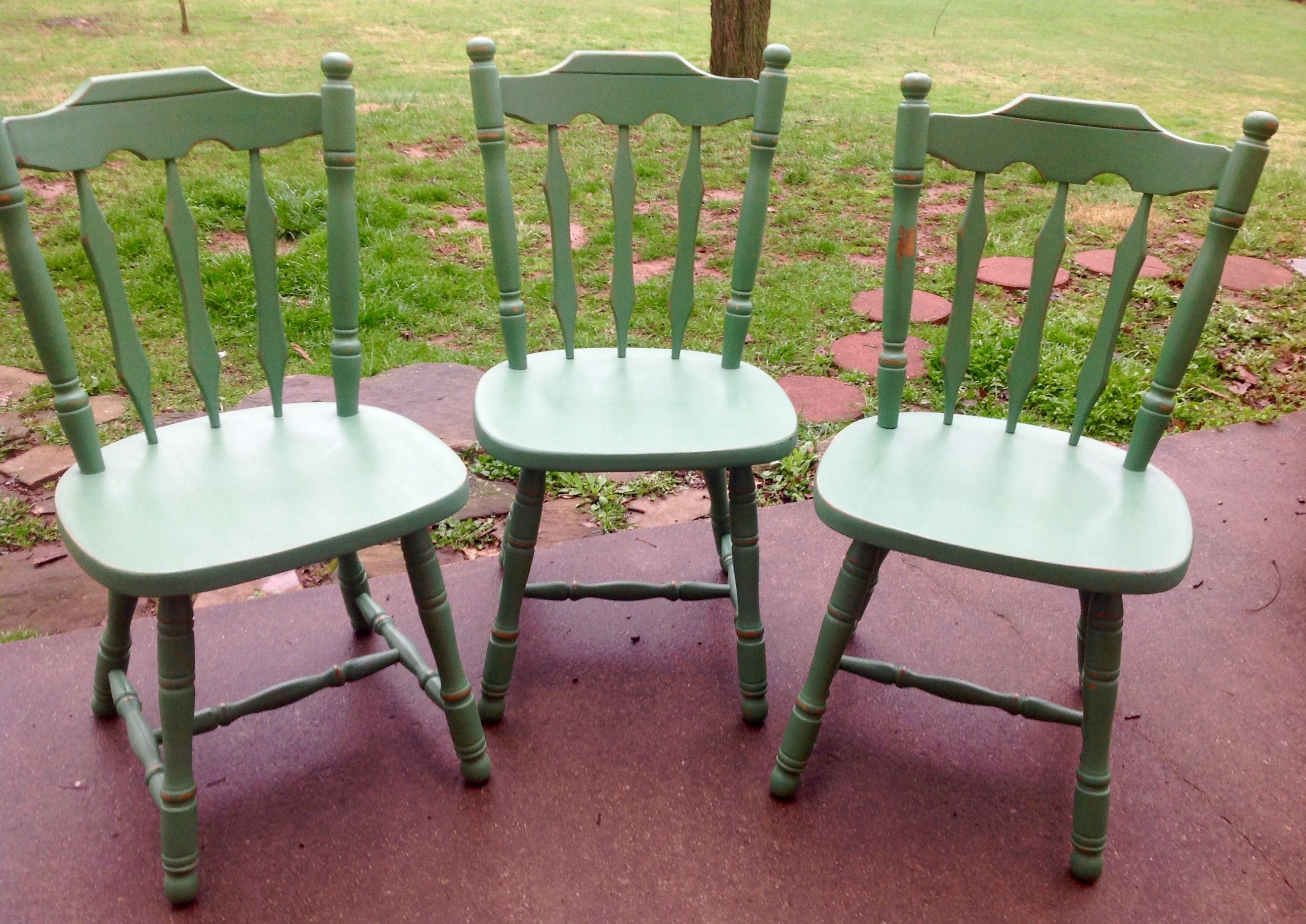 Custom Painted Distressed Wood Farm Chair Vintage Farmhouse Chair
