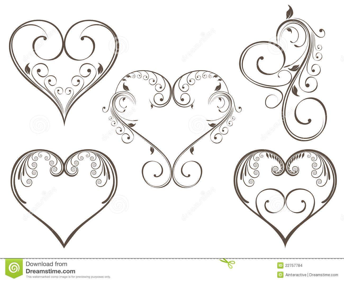 Heart Line Art Design : Floral heart scrolls g swish