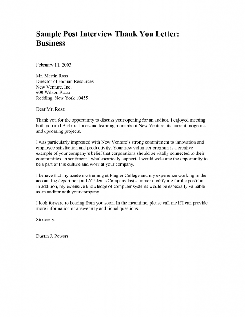 Sample Thank You Letter Ceo After Interview Cover Doc Follow