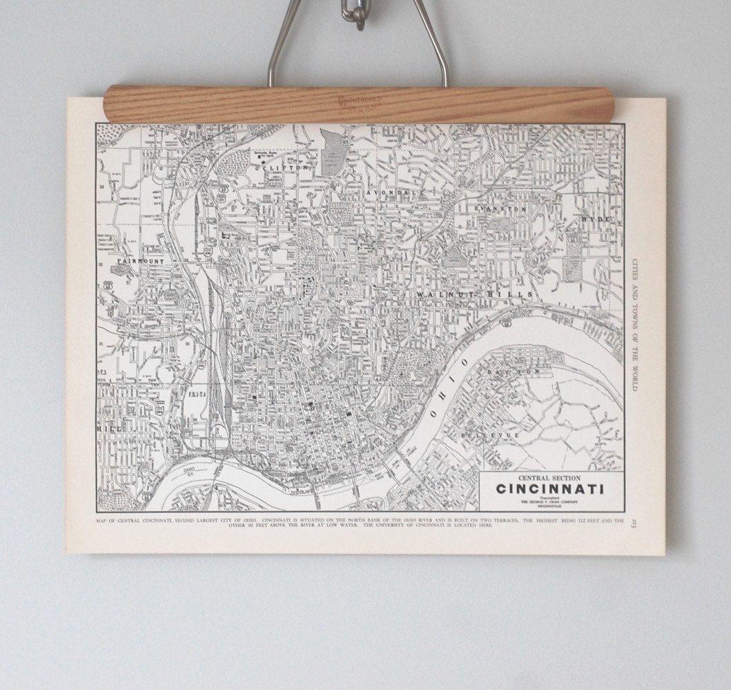 Cincinnati 1930s Map / Antique Ohio City Map. $14.00, via Etsy.