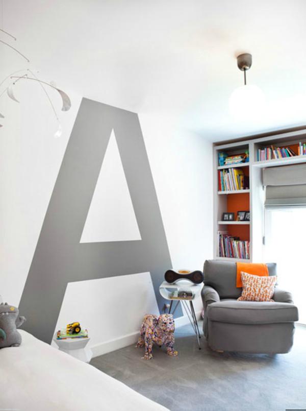 Buchstabe A An Der Wand Bemalen   Im Kinderzimmer   62 Kreative Wände  Streichen Ideen U0026 Interessante Techniken