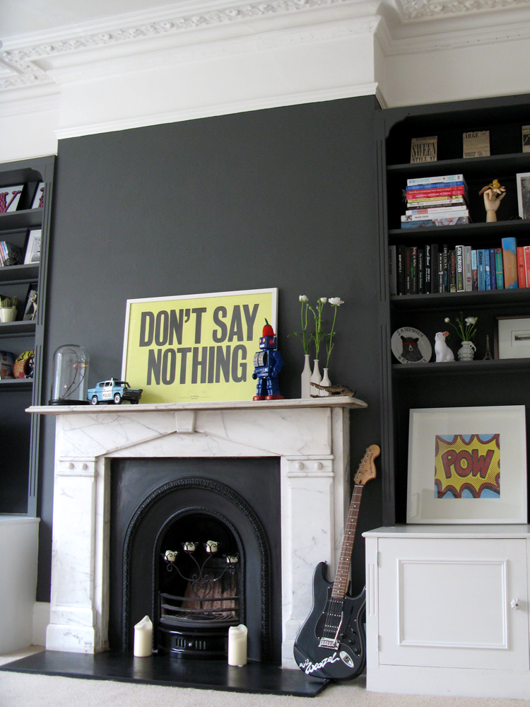 Living Room Feature Wall Decor: Bowler Hat Grey Fireplace Feature Wall & Bookshelves