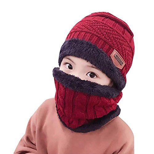 butterme Forro Polar de Invierno Infantil Beanie sombrero y bufanda Conjunto  de joven chica Slouchy cálidos Gorro Crochet Cap Manguera bufanda Set rojo  ... cb7414ba003